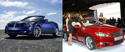 Two Topless Hotties: Lexus IS Convertible and Infiniti G37 Convertible