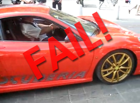 Epic Fail! How Do You Manage To Look So Silly In a Ferrari F430 Scuderia?