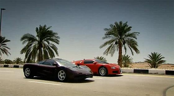 ultimate supercar showdown top gear mclaren f1 vs bugatti veyron video. Black Bedroom Furniture Sets. Home Design Ideas
