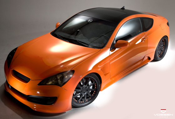 Hyundai Genesis Sittin Pretty in Orange on Vossen Forged VF051 20 inch Wheels