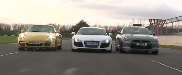 Porsche 911 Turbo vs. Nissan GT-R vs. Audi R8 V10 Video