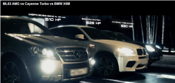 SUV Battle: BMW X6 M vs. Mercedes-Benz ML63 AMG vs. Porsche Cayenne Turbo