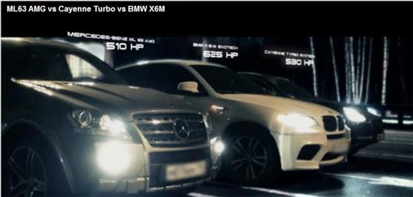 SUV Battle: BMW X6 M vs  Mercedes-Benz ML63 AMG vs  Porsche