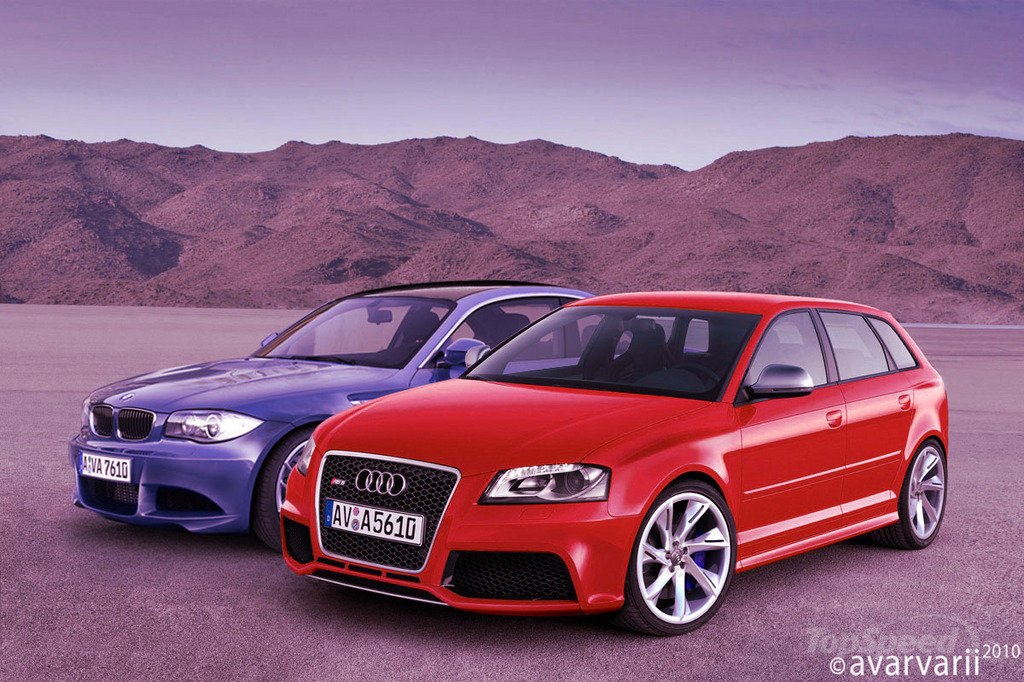 comparison preview renderings bmw 1 series m coupe vs audi rs3. Black Bedroom Furniture Sets. Home Design Ideas
