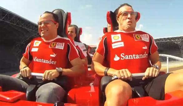 Felipe Massa and Fernando Alonso Ride World's Fastest Roller Coaster at Abu Dhabi's Ferrari World theme park