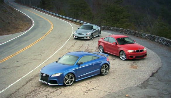 Car and Driver 'Chasing Tail' Video: Audi TT RS vs. BMW 1 Series M Coupe vs. Infiniti IPL G Coupe