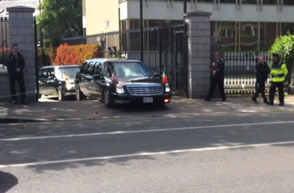 Video: President Obama's Limo, AKA The Beast, Bottoms-Out/Gets Stuck in Dublin