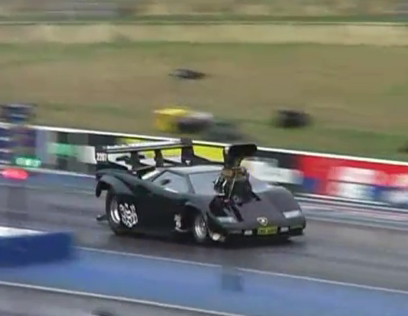 Video: Ridiculous Lamborghini Countach Dragster Hits The Wall