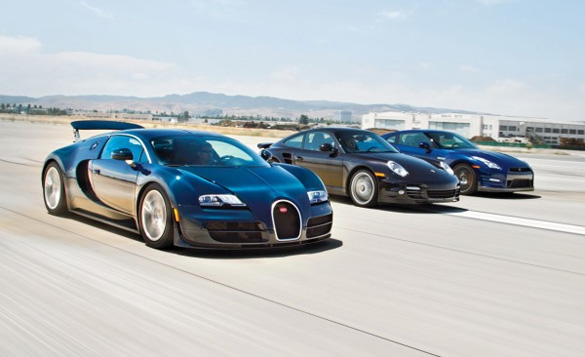 The Two Second Club: Veyron vs. 911 Turbo S vs. GT-R Road & Track Comparison Video