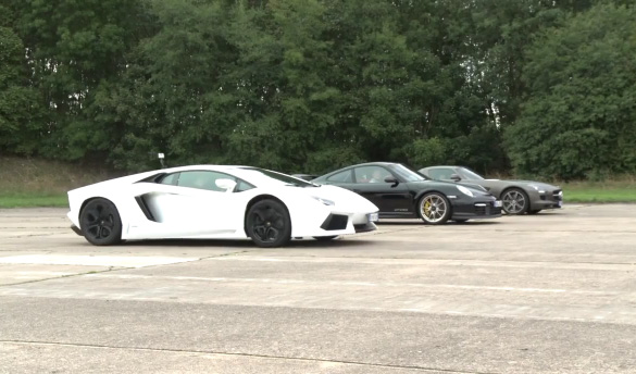Autocar Drag Race Video: Benz SLS AMG vs. Porsche GT2 RS vs. Lamborghini Aventador
