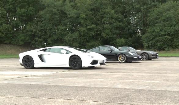 Autocar Drag Race Video: Benz SLS AMG vs. Porsche GT2 RS vs. Lamborghini Aventador