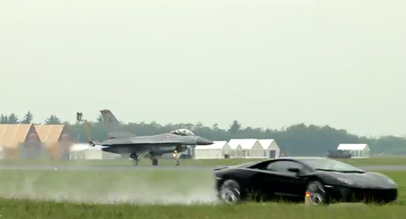 Top Gear-Style Race Pitts Lamborghini Avenador up against F-16 Fighting Falcon Jet: Video