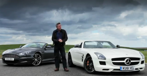 Aston Martin DBS Volante versus Mercedes-Benz SLS AMG Roadster: Video