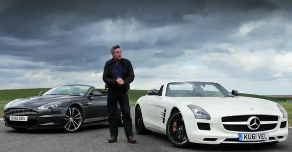 Aston Martin DBS Volante versus Mercedes-Benz SLS AMG Roadster: Video