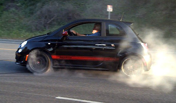 Jay Leno Takes Fiat 500 Abarth Out for a 'Burnout' Spin: Video