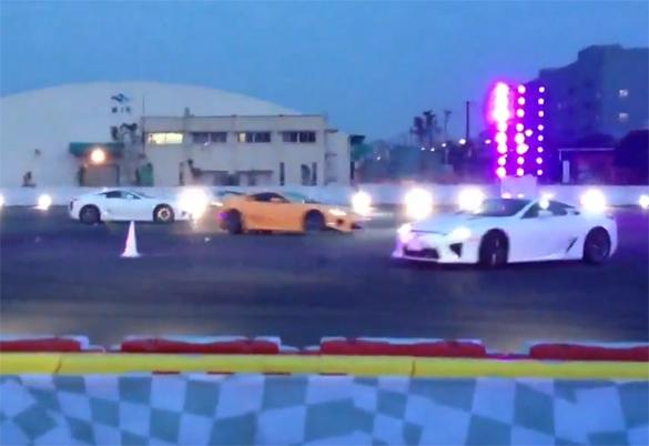 Lexus LFA Trio Performs Synchronized Tokyo Drifts