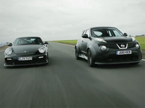Oddity De jour: Nissan Juke R vs. Porsche GT2 RS – Video