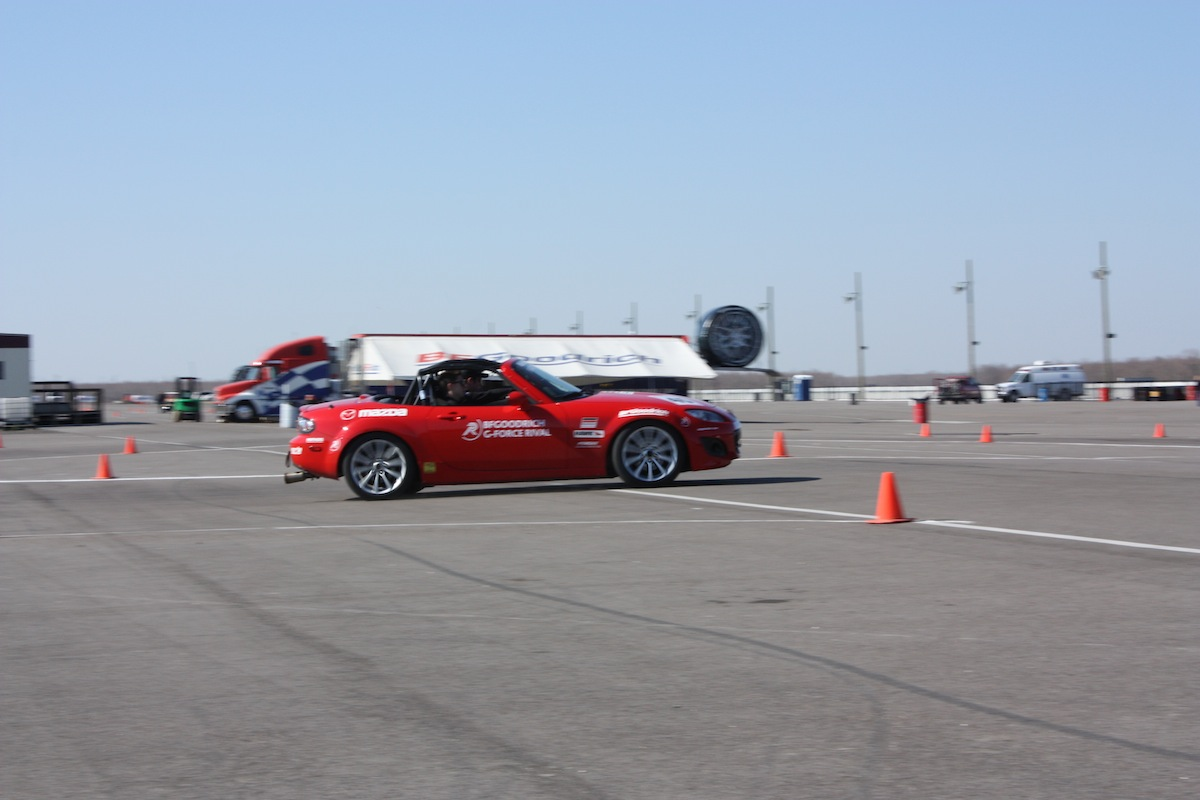 The MX-5 Cup car on the skidpad