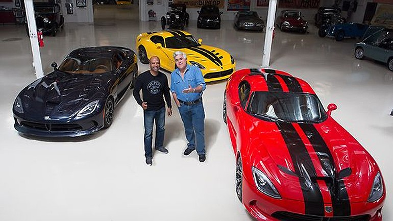 Jay Leno Welcomes Ralph Gilles Bringing along a few New SRT Vipers to his Garage: Video