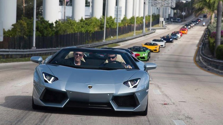 Lamborghini Celebrates 50th Anniversary with Aventador LP700-4 Roadsters Taking Miami by Storm