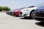 "Tesla Model S sedans on the ""Get Amped"" Tour - image: Tesla"