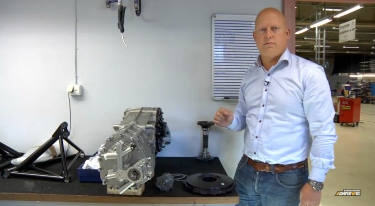Christian Von Koenigsegg poses with his company's gearbox
