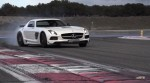 Chris Harris drives the SLS AMG Black Series, sideways