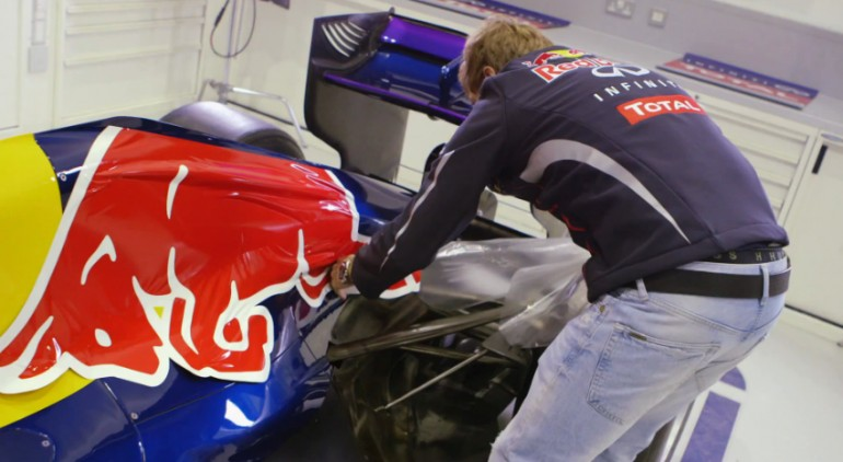Sebastian Vettel shows how NOT to apply sponsor decals