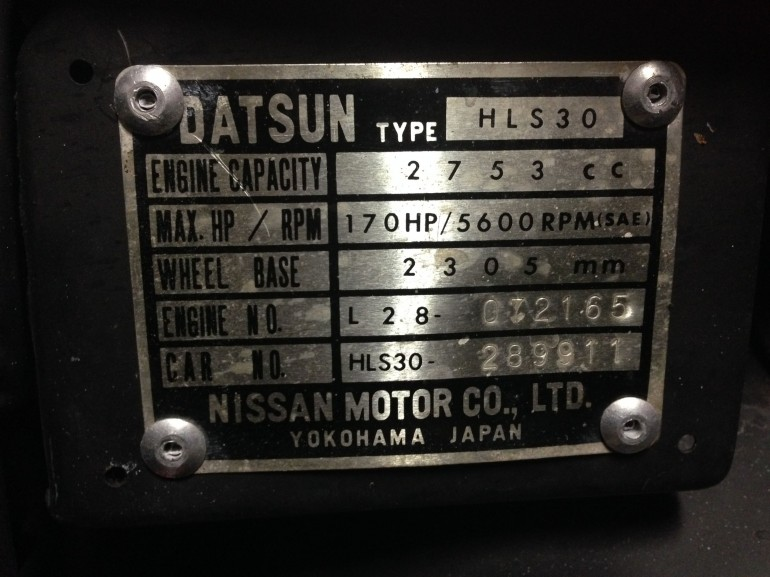 Information plate from my 1976 Datsun 280z