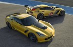 (L to R) The all-new 2015 Corvette Z06 and 2014 Corvette C7.R race car
