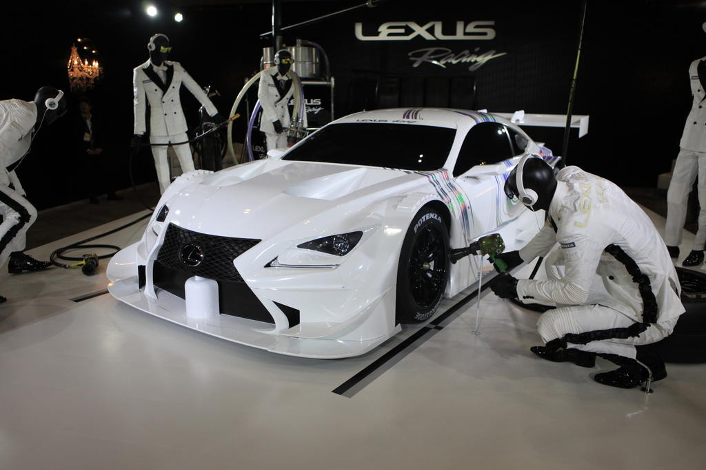 Lexus rc f gt500 race car displayed at 2014 tokyo auto salon for 2014 tokyo auto salon
