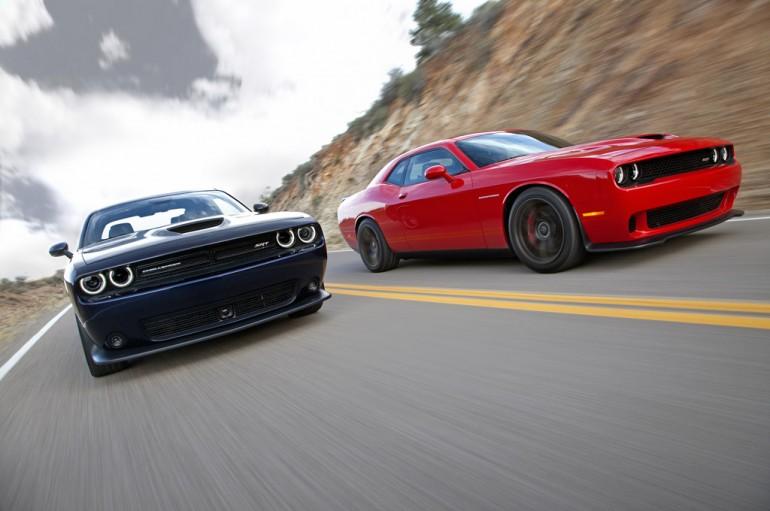 2015 Dodge Challenger SRT (left) and Dodge Challenger SRT Superc