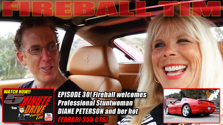 Today's 5Minute Drive Ep30 features Hollywood Stuntwoman DIANE PETERSON & her Ferrari 355 GTS…