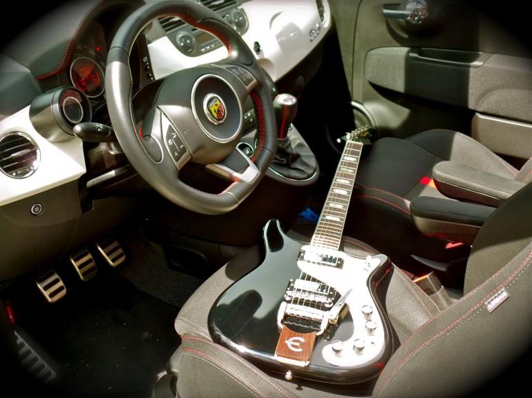 1964 Epiphone Crestwood Custom and the 2014 Fiat 500c Abarth Cabrio