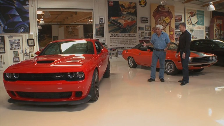 Jay Leno and the 707-horsepower Dodge Challenger Hellcat In The Garage: Video