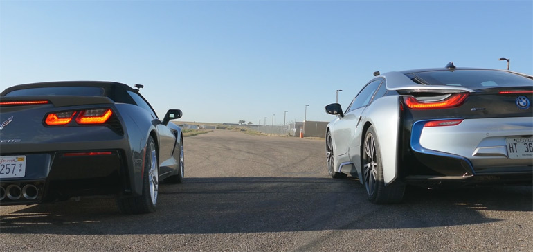 2015 Chevrolet Corvette Stingray vs. BMW i8: Drag Race Video