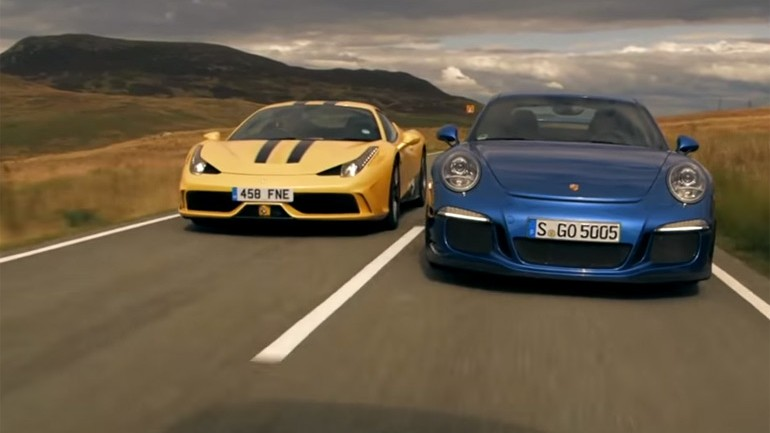 Ferrari 458 Speciale vs. Porsche 911 GT3: Comparison Review Video