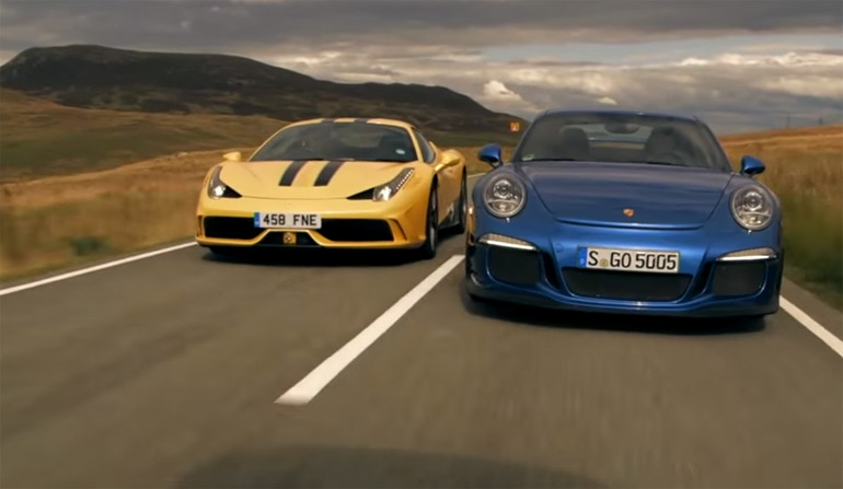 ferrari 458 speciale vs porsche 911 gt3 comparison review video. Black Bedroom Furniture Sets. Home Design Ideas