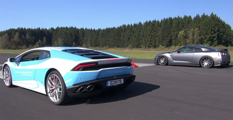 Lamborghini Huracan LP610-4 vs. Tuned Nissan GT-R Drag Race: Video