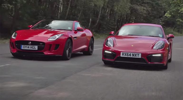 Jaguar F-Type Coupe and Porsche Cayman GTS Duke It Out on Autocar: Video