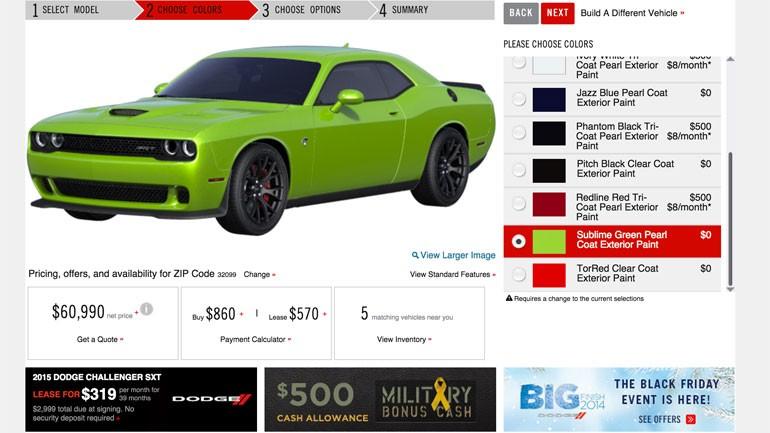 2015 Dodge Challenger SRT Hellcat Configurator Goes Live Online