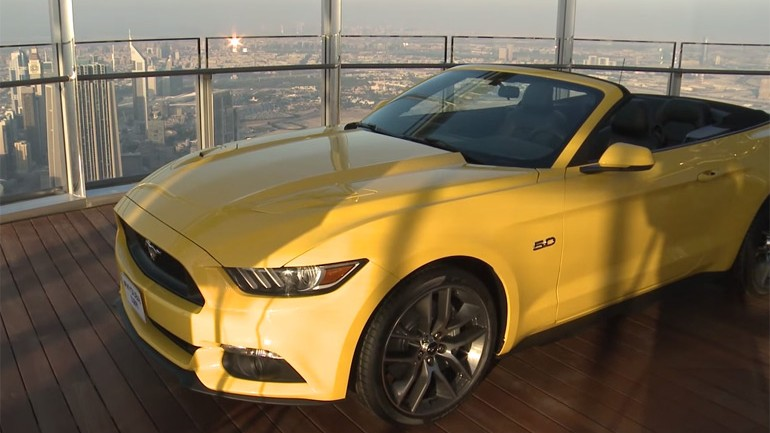 Ford Places 2015 Mustang On Top of World's Tallest Building – Burj Khalifa in Dubai: Video