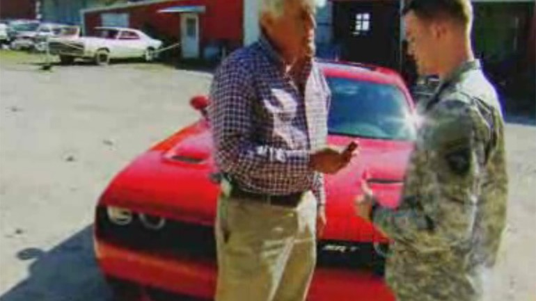 Jay Leno Surprises Wounded Veteran with New Challenger Hellcat: Video