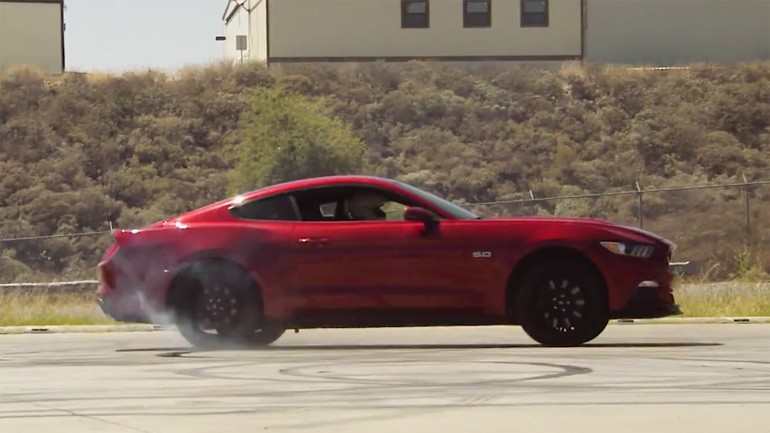 Jay Leno Celebrates 1 Million YouTube Subscribers on Garage Channel with 2015 Mustang GT Donuts: Video