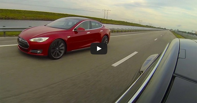 Tesla vs. Tesla: Model S P85D Destroys P85 In Drag Race – Video