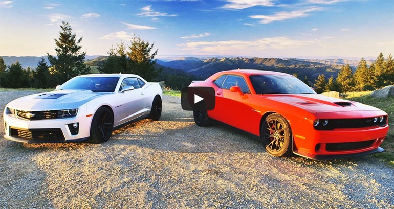 2015 Dodge Challenger SRT Hellcat Goes Head 2 Head with Chevrolet Camaro ZL1: Video