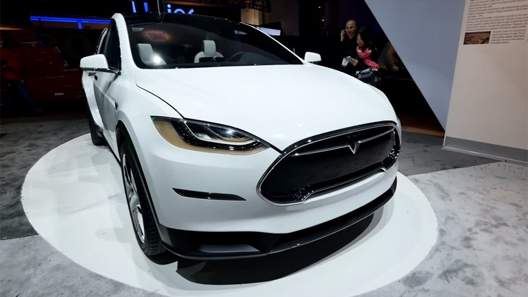 Tesla Model X Electric Crossover Appears At 2015 CES Panasonic Booth: Walk Around Video