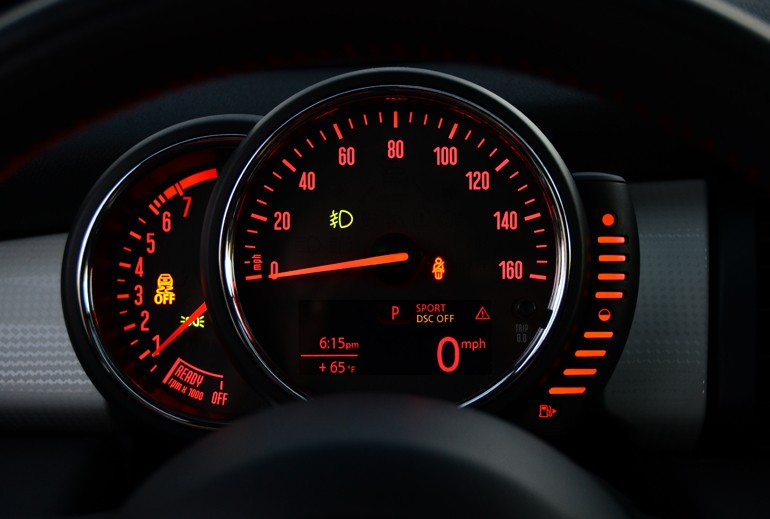 mini cooper  gauge cluster night