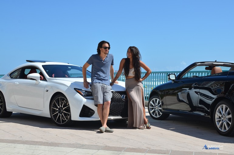 X-Factor winners Alex & Sierra spend some time with the Automotive Addicts team and the 2015 Lexus RC F and IS 350 C at Daytona Beach, Florida