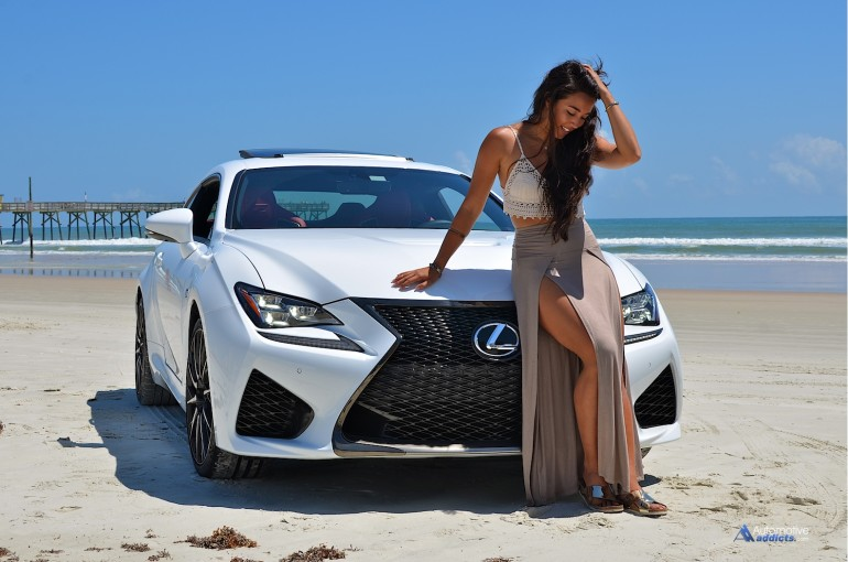 X-Factor winner Sierra Deaton poses with the Lexus RC F at Daytona Beach. Florida